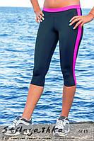 Женские легинсы для занятия спортом черные с малиновой полоской
