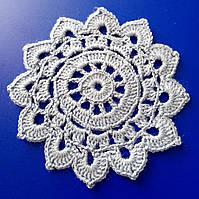 Салфетка, D 10 cm,  вязаная крючком голубая