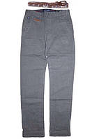 Подростковые котоновые брюки серые для мальчиков. В остатке 176р.