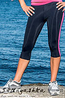Женские легинсы для занятия спортом черные с коралловой полосой