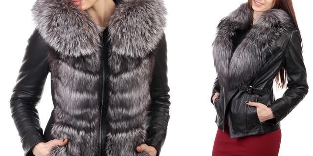 зимняя кожаная куртка с мехом чернобурки женская