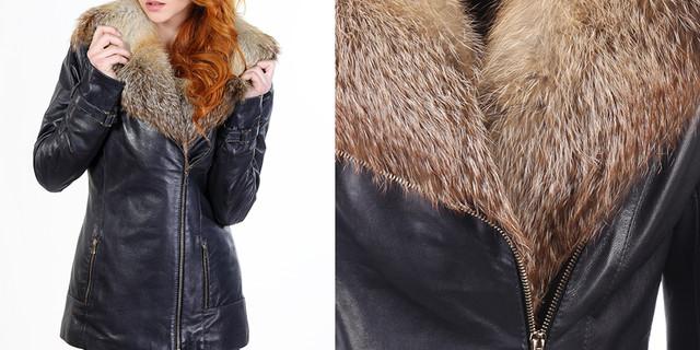 зимняя кожаная куртка с мехом лисы женская