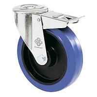 Колеса поворотные с эласт.синей резиной Norma с отверстием и тормозом, ролик.подш. Ø80,100,125,150,160,200мм