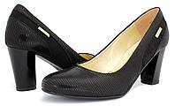 Туфли осенние Польские на каблуке черные Korzeniowski