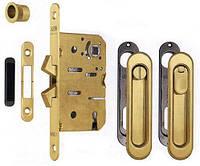 Ручки для раздвижных дверей с механизмом WC AGB B02923.50.34 Scivola-ТТ, матовая латунь