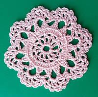 Миниатюрные ажурные салфетки ручной работы, D 8 cm,  розовая