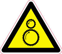 Наклейка: Возможно затягивание между вращающимися элементами 150х130