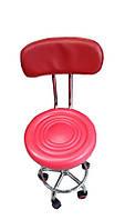 Красный парикмахерский стул со спинкой