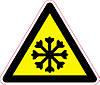 Наклейка: Осторожно. Холод 150х130
