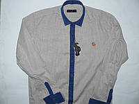 Рубашка бежевая с джинсовой отделкой  на 5-16лет