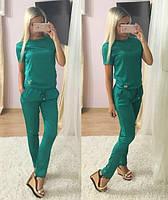 Красивый женский костюм футболка и брюки, материал шелк, цвет зеленый
