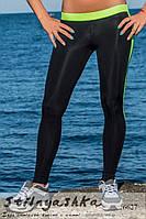 Черные женские спортивные лосины вставки салат, фото 1