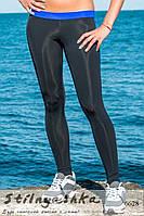 Черные женские спортивные лосины вставки индиго, фото 1