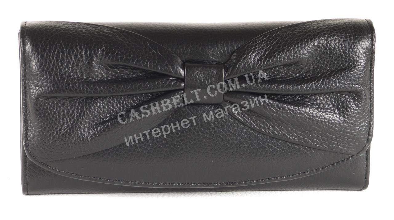 Шкіряний чорний акуратний жіночий гаманець з бантом SALFEITE art. 12194