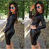 Модный кожаный костюм со змейками, фото 2