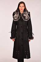 Дубленка женская черная с мехом чернобурки., фото 1
