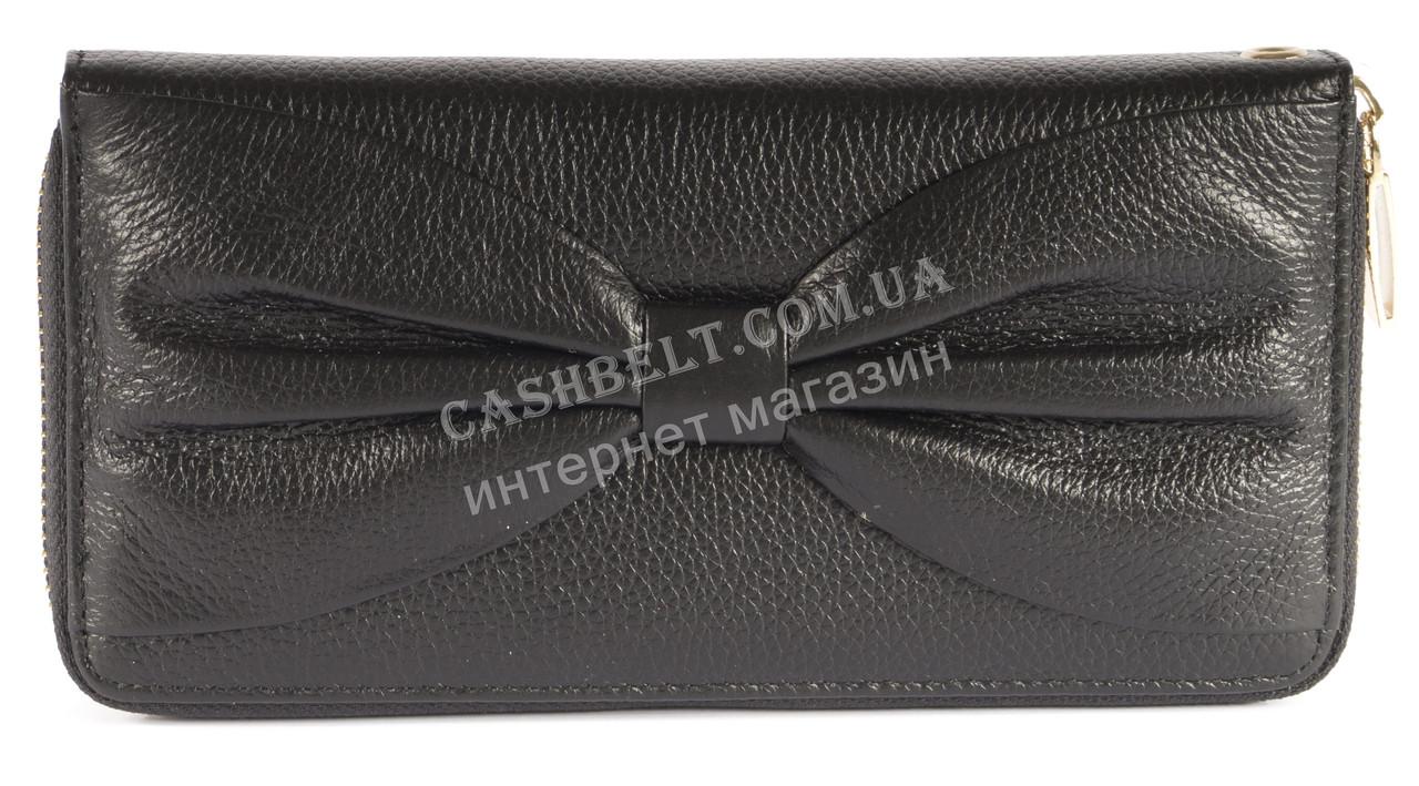Кожаный черный женский кошелек барсетка с бантом SALFEITE art. 12199