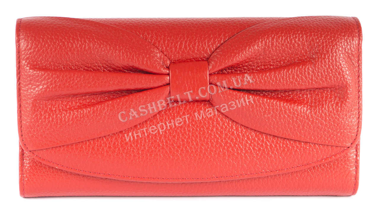 970988e39bd9 Кожаный красный женский кошелек с бантом SALFEITE art. 12195 ...