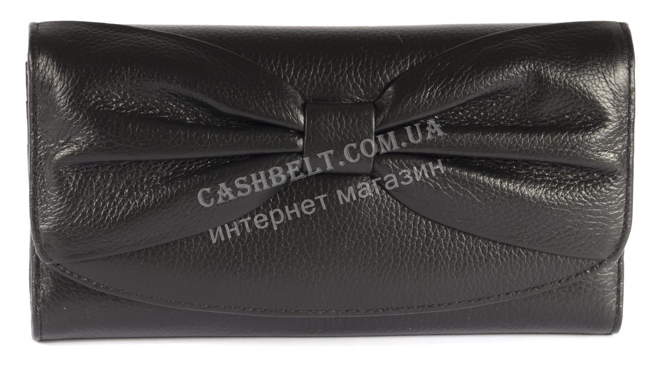 Кожаный черный женский кошелек с бантом SALFEITE art. 12195