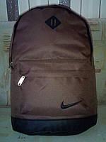 городской рюкзак Nike с кожаным дном коричневый с чёрным