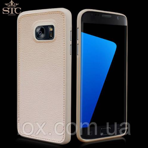 Бежевый силиконовый чехол с кожанной накладкой для Samsung Galaxy S7