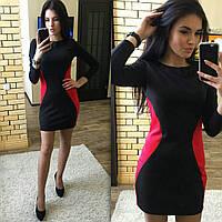 Женское платье черное с красными боками короткое 016/1 ЕМ