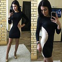 Женское платье черное с бежевыми боками короткое 016/2 ЕМ