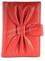 Cтильная прочная кожаная женская документница с бантом и кард холдером SALFEITE art. 12198 красного цвета
