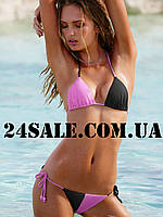 Плавки Victoria's Secret Colorblock Teeny Bikini, Black/Beach Orchid 84U