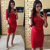 Женское платье облегающее красное на поясе с бантом 2508/02 ЕМ