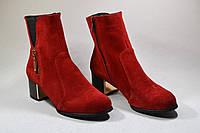 Женские полусапожки на невысоком каблуке из натурального замша красного цвета, фото 1