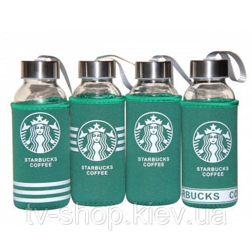 Стеклянная бутылка Starbucks в термочехле ,400 мл