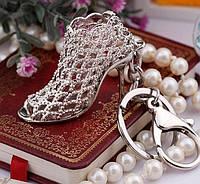 """Дизайнерский брелок, миниатюра - """"Женская туфелька на каблуке"""", хром"""