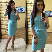 Женское платье облегающее голубое на поясе с бантом 2508/04 ЕМ Н 73