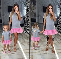 Набор платьев мама и дочка пышная рюша низ