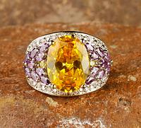 Великолепное кольцо с цитрином и фиолетовым турмалином 18р
