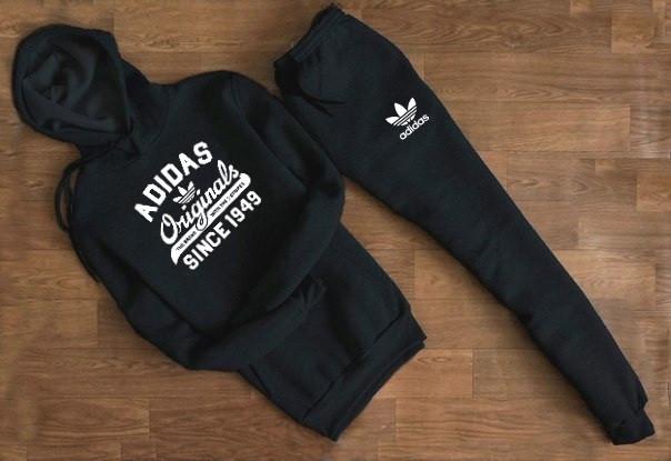 Мужской Спортивный костюм Adidas Originals чёрный с капюшоном