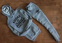 Мужской Спортивный костюм Adidas Originals серый с капюшоном