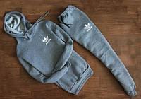 Мужской Спортивный костюм Adidas серый с капюшоном