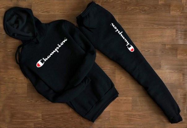 Мужской Спортивный костюм Сhampion чёрный с капюшоном