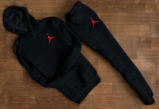Мужской Спортивный костюм Jordan c капюшоном (маленький принт) Черный