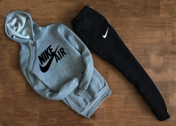 Мужской Спортивный костюм Nike AIR серо чёрный c капюшоном