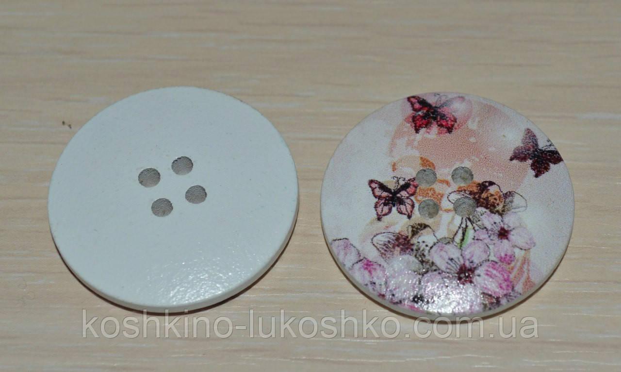 Пуговица круглая с принтом 30 мм