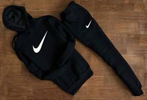 Мужской Спортивный костюм Nike c капюшоном (белый принт)