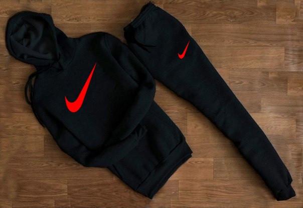 Мужской Спортивный костюм Nike чёрный c капюшоном (красный принт)