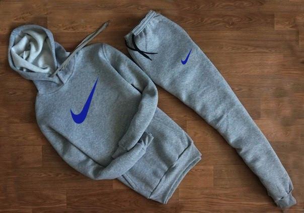 Мужской Спортивный костюм Nike серый c капюшоном синий принт