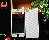Carbon white tempered glass 2in1(front+back) for iPhone 5/5s/SE