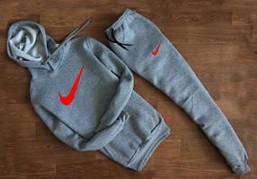 Мужской Спортивный костюм Nike серый c капюшоном (красный принт)