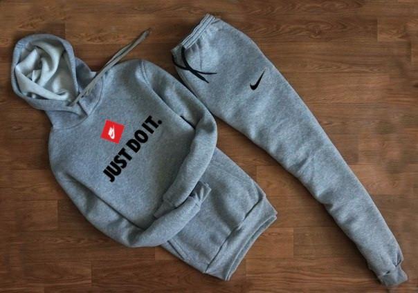 Мужской Спортивный костюм Nike серый c капюшоном (Найк)