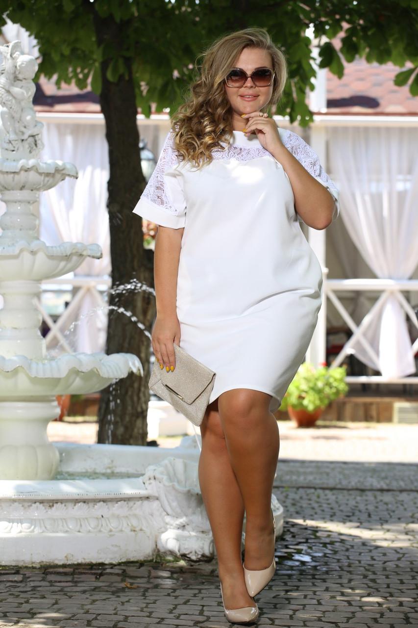 907e7aff891 Платье Бруклин белое свободного кроя с гипюром французский трикотаж  большого размера 48-72 батал